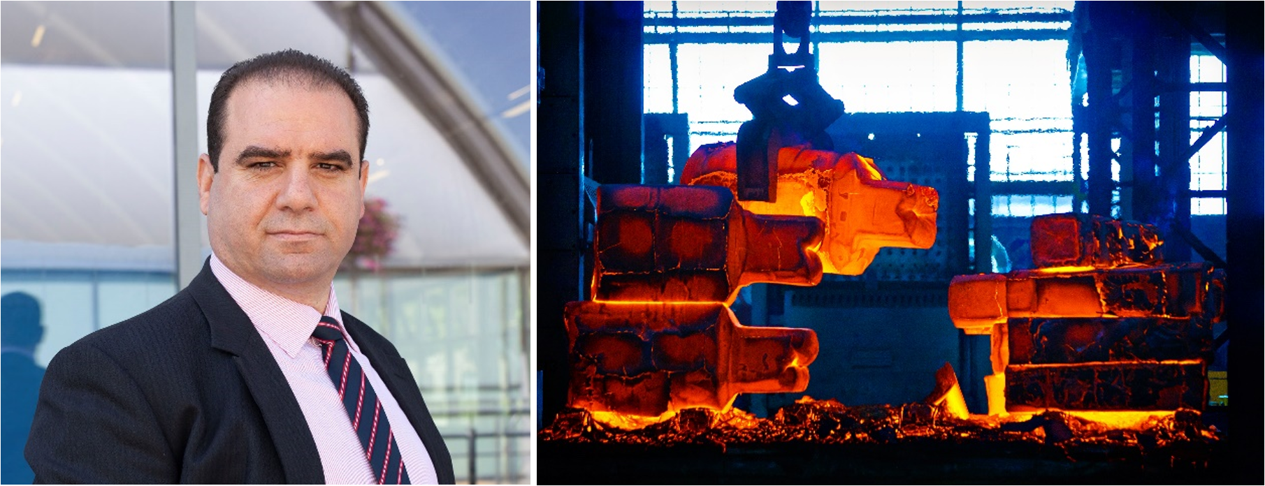 Left: Hussam Jouhara; Right: Steel forgery